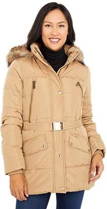 MICHAEL Michael Kors Belted Puffer with Faux Fur Trim Hood M424746BTK (Dark Camel) Women's Clothing