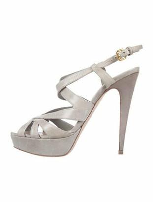 Miu Miu Patent Leather Slingback Sandals Grey