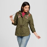 Xhilaration Women's Embroidered Anorak Juniors') Olive