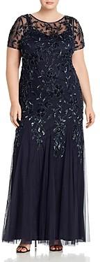 Adrianna Papell Floral Embellished Godet Gown