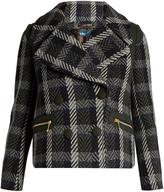 Kolor Double-breasted herringbone wool-blend coat