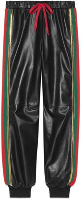 Gucci Leather jogging pant with Web