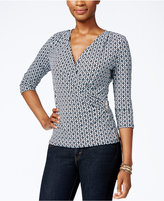Charter Club Petite Printed Faux-Wrap Top, Only at Macy's