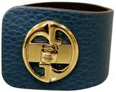 Gucci Women's 1973 Blue Leather Bracelet Bangle with Gold G Size 17 253514
