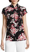 Liz Claiborne Short Sleeve Twist Neck Floral Blouse