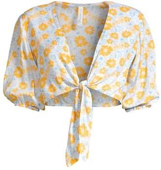 Cool Change Bonnie Cropped Floral Tie-Front Top