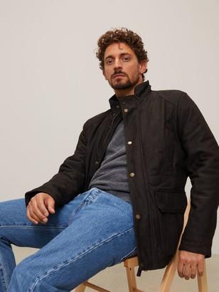 John Lewis & Partners Cord Collar Leather Jacket, Bark