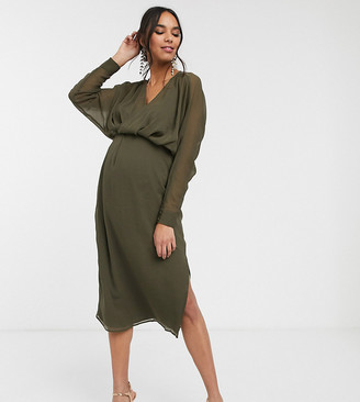 ASOS DESIGN Maternity slouchy midi dress with blouson sleeve