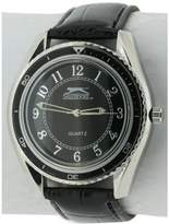 Slazenger Men's Quartz Watch with Black Dial Analogue Display and Black PU Strap SLZ183/B