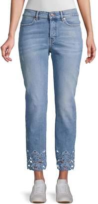 Escada J106 Broidery Anglaise Trim Crop Jeans