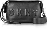 DKNY Debossed Logo Black/Black Leather Crossbody Bag