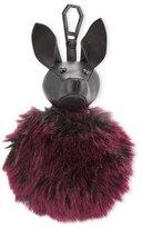 KENDALL + KYLIE Bambi Faux-Fur Dog Charm for Handbag, Black/Red Plum
