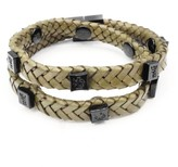 Tissuville Olive Green Leather Wrap Tarmac Bracelet With Black Studs