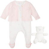Emile et Rose Bow All-in-One Three Piece Set, Pink/White