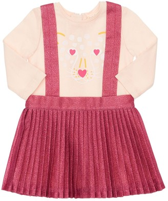 Billieblush Cotton Blend Dress W/ Pleated Skirt