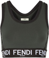 Fendi Roma Perforated Stretch Sports Bra - Army green
