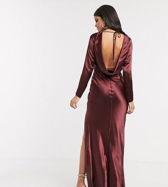 Asos Tall DESIGN Tall long sleeve cowl back maxi dress-Purple