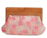 Sondra Roberts Perforated Faux Leather Frame Clutch - Pink