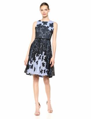 Gabby Skye Women's Sleeveless Round Neck Printed Jacquard Knit Dress