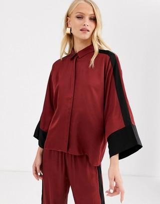 InWear Tory sateen color block shirt