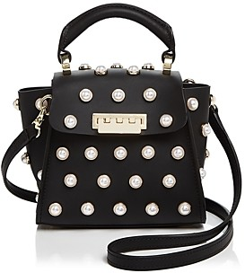 Zac Posen Eartha Iconic Lady Faux-Pearl Top Handle Mini Leather Crossbody