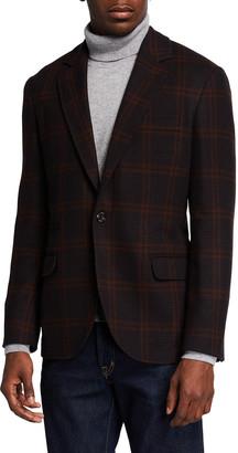 Brunello Cucinelli Men's Double Overcheck Houndstooth Sport Jacket