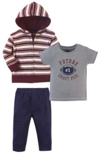 Hudson Baby Toddler Boys 3 Piece Cotton Hoodie, Tee Top and Pant Set