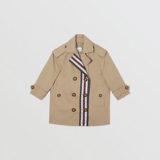 Burberry Childrens Monogram Stripe Print Cotton Trench Coat