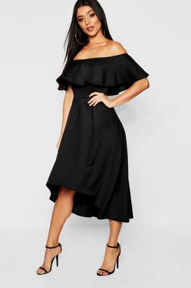 boohoo Off The Shoulder Dip Hem Skater Bridesmaid Dress