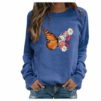BOIYI Women's Round Neck Long Sleeve Tops T-Shirt Butterfly Printed Casual Loose Pullover Sweater Blouse Solid Colour Jumper(Blue XL)