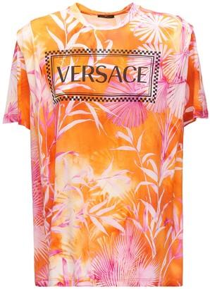 Versace Logo Tie Dye Cotton Jersey T-shirt