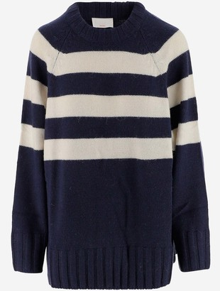 P.A.R.O.S.H. Alpaca and Wool blend Striped Women's Long Sweater