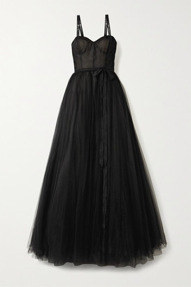 Carolina Herrera Embroidered Tulle Gown - Black