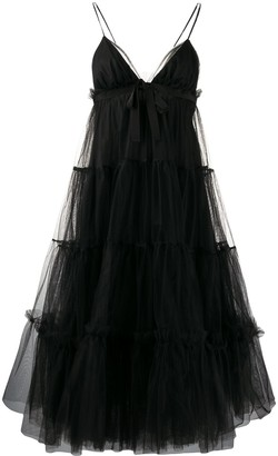 BROGNANO Tulle Tiered Midi Dress