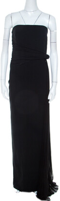 Max Mara Black Crepe Knit Pleated Tie Detail Strapless Nicchia Gown L