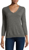 Neiman Marcus Cashmere V-Neck Basic Sweater, Gray