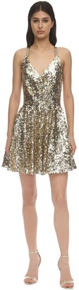 Dolce & Gabbana Sequined Cross Back Flared Mini Skirt