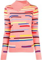 Chinti and Parker Striped Button-Neck Jumper