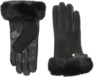 La Fiorentina Women's Leather Faux Fur Trimmed Cuffed Glove with Button Detail
