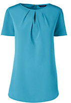 Lands' End Women's Plus Size Short Sleeve Keyhole Soft Blouse-Blue Fish