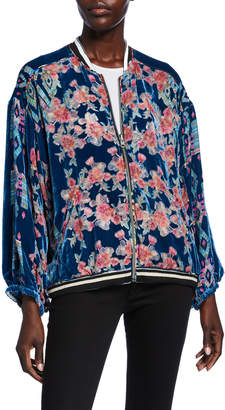 Johnny Was Zelba Reversible Silk Velvet Bomber Jacket