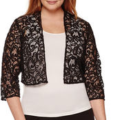 R & M Richards R&M Richards Long-Sleeve Lace Sequin Shrug - Plus