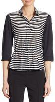 Akris Punto Striped Cinched Waist Cotton Shirt