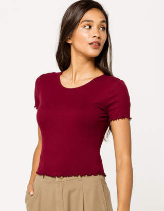 Bozzolo Ribbed Lettuce Edge Burgundy Womens Crop Tee