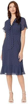 MICHAEL Michael Kors Mod Dot Mix Tie Dress (True Navy/Dark Chambray) Women's Clothing