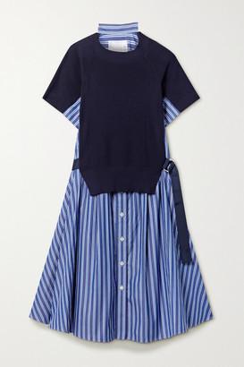 Sacai Buckled Paneled Striped Cotton-poplin And Ribbed-knit Dress - Navy