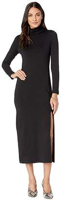 Susana Monaco Long Sleeve Turtleneck Dress w/ Slit (Black) Women's Dress