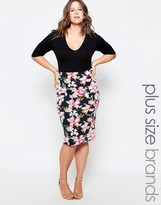 Club L Plus Midi Dress With Floral Print Skirt
