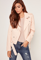 Missguided Faux Leather Biker Jacket Nude
