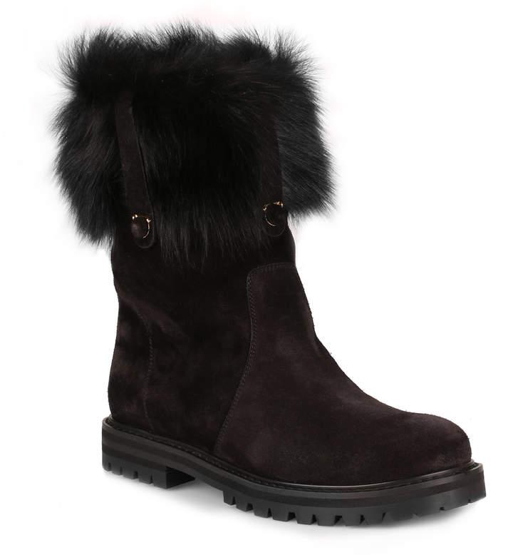 Salvatore Ferragamo Vasto black suede and fur boot